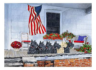 Painting - Patriotic Scottie Dogs by Ann Kallal