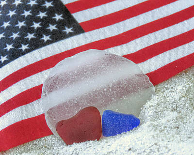 Photograph - Patriotic Sea Glass Colors by Janice Drew