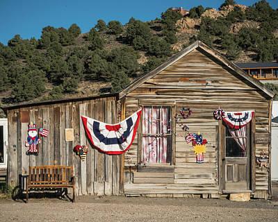 Photograph - Patriotic Shack Belmont Nevada by Lawrence S Richardson Jr
