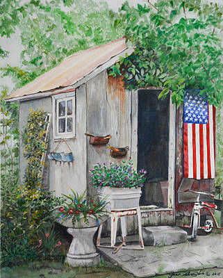 Painting - Patriotic Shed by Jean Sumption