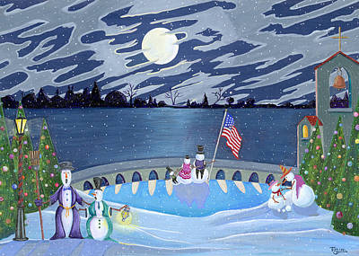 Patriotic Snowmen Art Print by Thomas Griffin