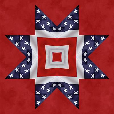 Digital Art - Patriotic Star 1 by Jeff Kolker
