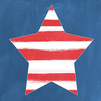 Americas Map Painting - Patriotic Star by Linda Woods