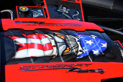Photograph - Patriotic Stingray Z51 Engine Compartment by Mike Martin