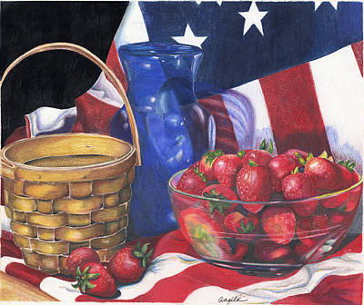 Painting - Patriotic Strawberries by Angela Armano