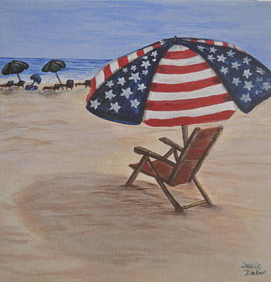 Painting - Patriotic Umbrella by Debbie Baker