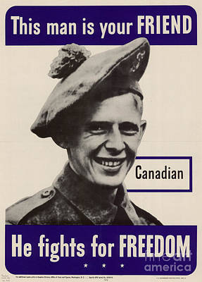 Photograph - Patriotic World War 2 Poster Us Allies Canada by R Muirhead Art