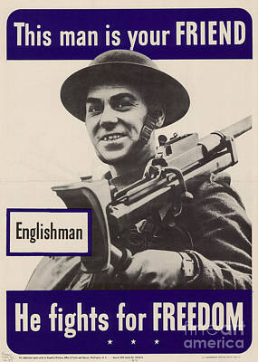 Photograph - Patriotic World War 2 Poster Us Allies England by R Muirhead Art