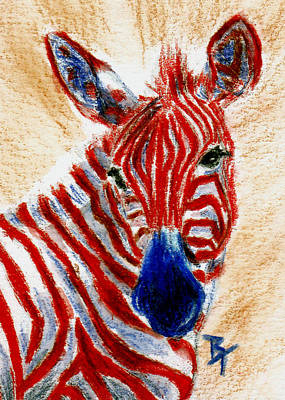 Painting - Patriotic Zebra Aceo by Brenda Thour
