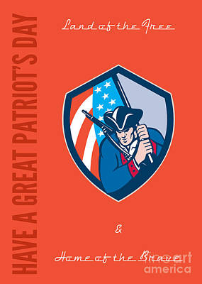 Patriots Day Greeting Card American Patriot Brandishing Flag  Print by Aloysius Patrimonio