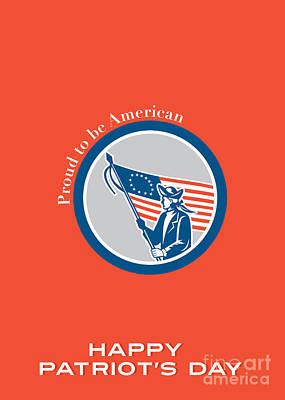 Waving Flag Digital Art - Patriots Day Greeting Card American Patriot Soldier Flag Circle  by Aloysius Patrimonio