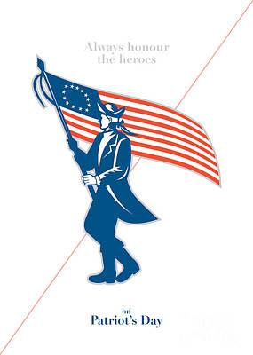 Waving Flag Digital Art - Patriots Day Greeting Card American Patriot Soldier Flag Marching by Aloysius Patrimonio
