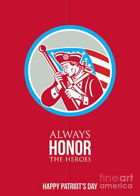 Waving Flag Digital Art - Patriots Day Greeting Card American Patriot Soldier Waving Flag by Aloysius Patrimonio