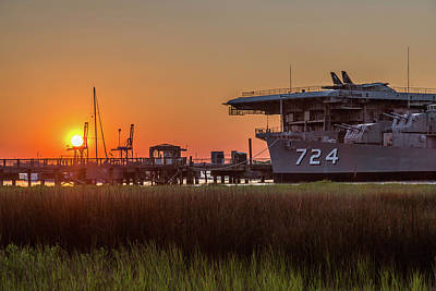Photograph - Patriots Point Marina And Naval Ships by Donnie Whitaker