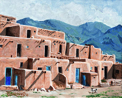 Taos Painting - Patrolling The Pueblo by Timithy L Gordon