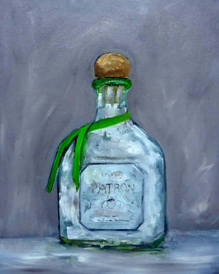Painting - Patron Silver Tequila Bottle Man Cave  by Katy Hawk