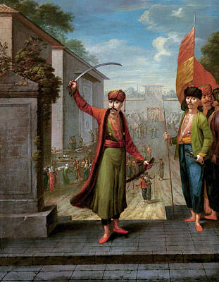 Vernacular Architecture Painting - Patrona Halil by Jean Baptiste Vanmour