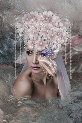 Old Glory Mixed Media - Patriotic Bride by G Berry