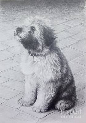 Art Print featuring the drawing Patsy's Puppy by Mike Ivey