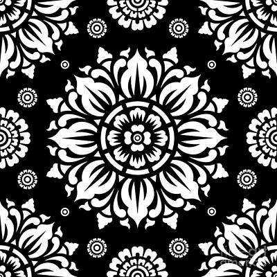 Black And White Art Digital Art - Pattern Art 01-1 by Bobbi Freelance