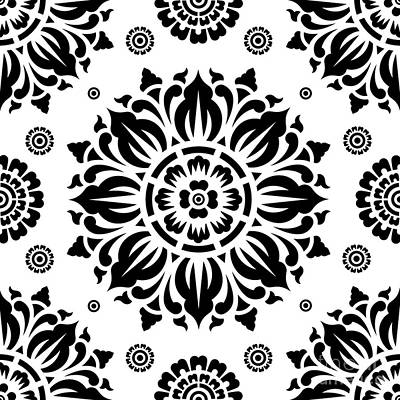 Black And White Art Digital Art - Pattern Art 01-2 by Bobbi Freelance