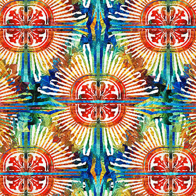 Vibrant Colors Painting - Pattern Art - Color Fusion Design 2 By Sharon Cummings by Sharon Cummings