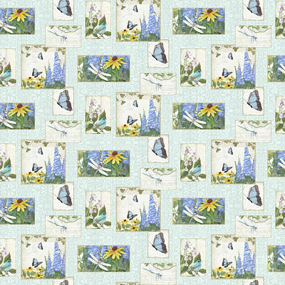 Repeat Painting - Pattern Butterflies Dragonflies Birds And Blue And Yellow Floral by Audrey Jeanne Roberts