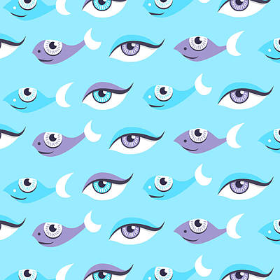 Pattern Of Blue Eyes And Fish In Sea Art Print