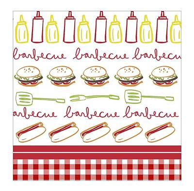 Checked Tablecloths Photograph - Pattern With Barbecue Lettering, Hot by Gillham Studios
