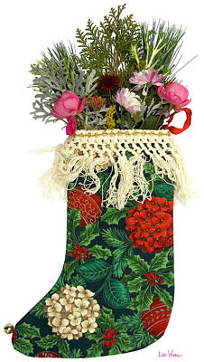Photograph - Patterned Christmas Stocking With Flowers by Lise Winne