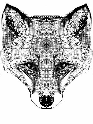 Foxes Drawing - Patterned Fox by Harold Belarmino