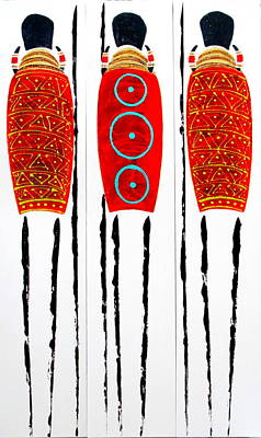Painting - Patterned Masai Triptych by Tracey Armstrong