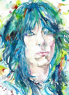 Painting - Patti Smith - Watercolor Portrait by Fabrizio Cassetta