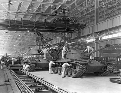 Battle Tank Photograph - Patton Tank Assembly Line by Underwood Archives