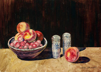 Table Cloth Painting - Patt's Bowl by Shirley Sykes Bracken