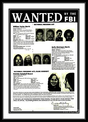 Drawing - Patty Hearst Symbionese Liberation Army Wanted Poster September 1974 by Peter Gumaer Ogden Collection