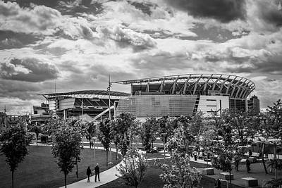 Photograph - Paul Brown Stadium Black And White by Scott Meyer