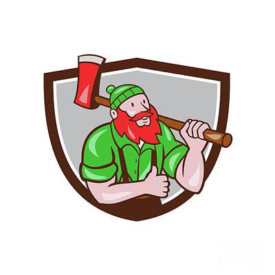 Agriculture Digital Art - Paul Bunyan Lumberjack Axe Thumbs Up Crest Cartoon by Aloysius Patrimonio