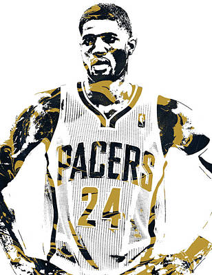 Indiana Pacers Mixed Media - Paul George Indiana Pacers Pixel Art 1 by Joe Hamilton