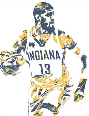 Indiana Pacers Mixed Media - Paul George Indiana Pacers Pixel Art 10 by Joe Hamilton