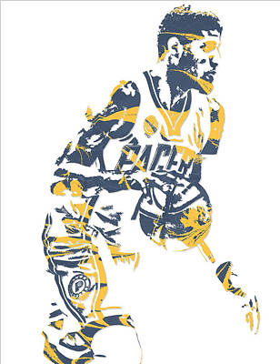 Indiana Pacers Mixed Media - Paul George Indiana Pacers Pixel Art 11 by Joe Hamilton