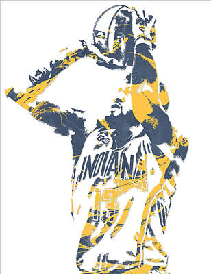 Indiana Pacers Mixed Media - Paul George Indiana Pacers Pixel Art 12 by Joe Hamilton