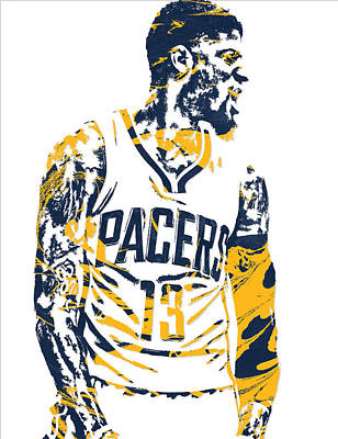 Indiana Pacers Mixed Media - Paul George Indiana Pacers Pixel Art 4 by Joe Hamilton