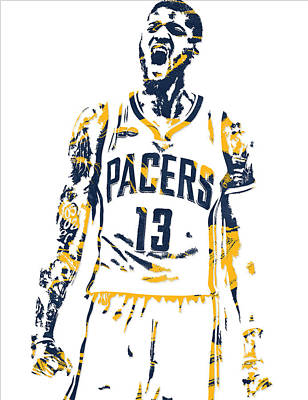Indiana Pacers Mixed Media - Paul George Indiana Pacers Pixel Art 6 by Joe Hamilton