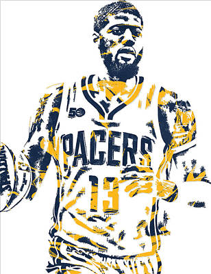 Indiana Pacers Mixed Media - Paul George Indiana Pacers Pixel Art 7 by Joe Hamilton