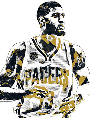 Indiana Pacers Mixed Media - Paul George Indiana Pacers Pixel Art by Joe Hamilton