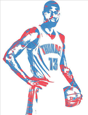Mixed Media - Paul George Oklahoma City Thunder Pixel Art 1 by Joe Hamilton