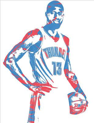 Oklahoma Mixed Media - Paul George Oklahoma City Thunder Pixel Art 1 by Joe Hamilton