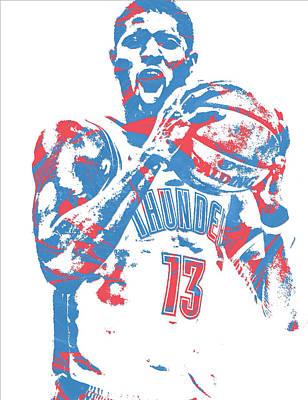 Oklahoma Mixed Media - Paul George Oklahoma City Thunder Pixel Art 10 by Joe Hamilton