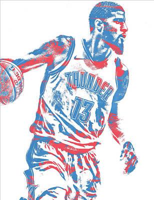Oklahoma Mixed Media - Paul George Oklahoma City Thunder Pixel Art 11 by Joe Hamilton